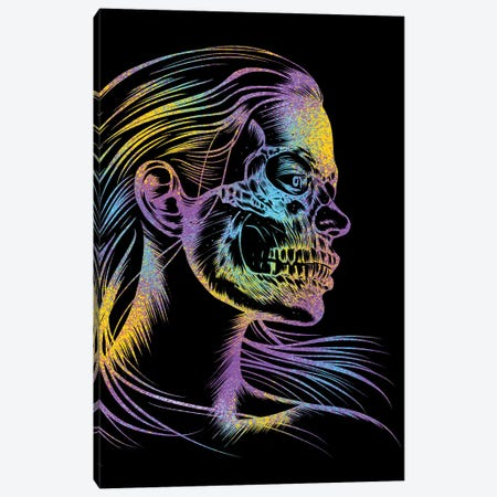 Skull Girl Colorful Canvas Print #APZ175} by Alberto Perez Canvas Art