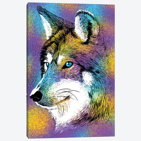 Sketch Wolf Colorful Canvas Print #APZ179} by Alberto Perez Canvas Art Print