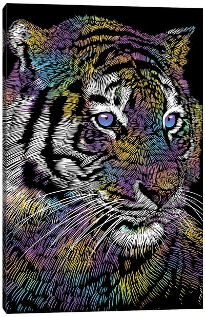 Realistic Tiger Colorful Canvas Art Print