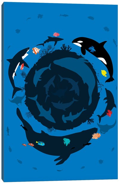 Circle Ocean Summer Canvas Art Print