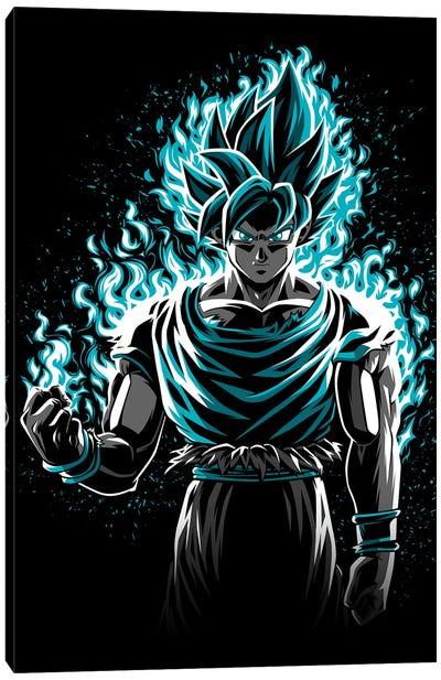 Blue Fire Warrior Canvas Art Print