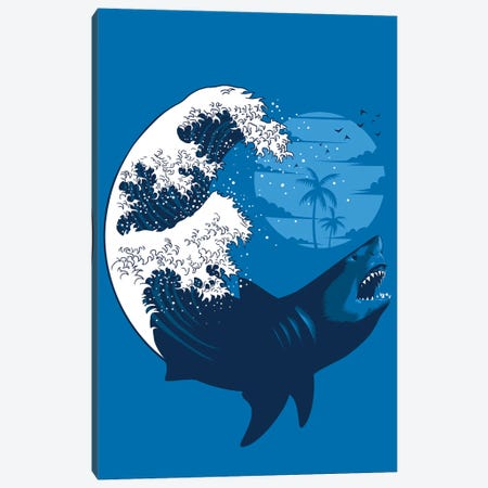 Shark Wave Canvas Print #APZ247} by Alberto Perez Canvas Artwork