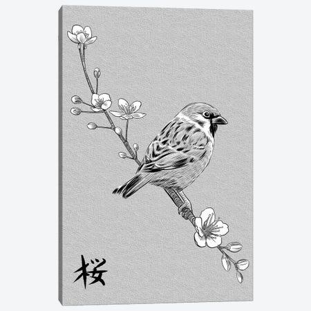 Kanji Sparrow Canvas Print #APZ350} by Alberto Perez Canvas Art Print