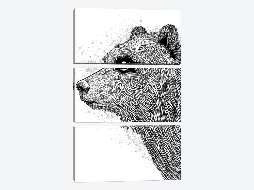 Sketch Bear Brizzly by Alberto Perez 3-piece Canvas Artwork