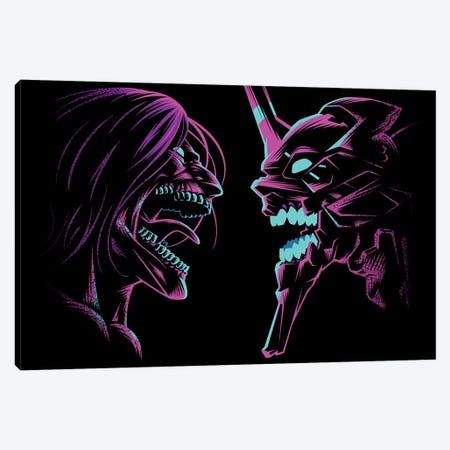 Retro Duel Of Titans Canvas Print #APZ421} by Alberto Perez Art Print