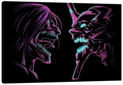 Retro Duel Of Titans Canvas Art Print