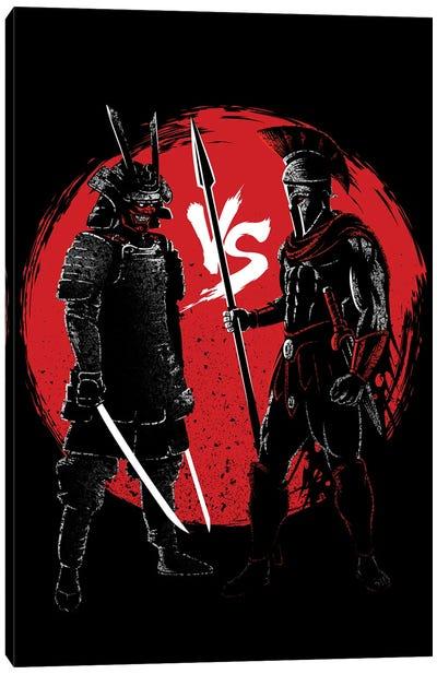 Samurai Vs Spartan Canvas Art Print
