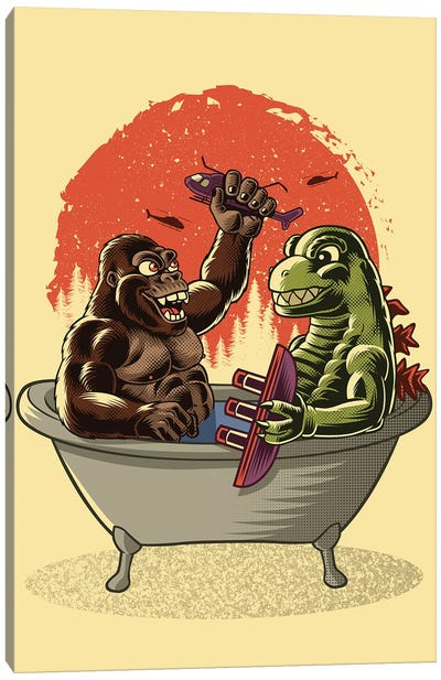 Battle In The Bathtub Canvas Art Print