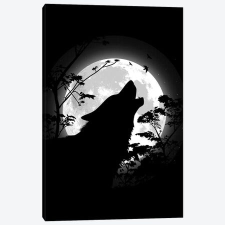 Howling Wolf Under The Moon Canvas Print #APZ432} by Alberto Perez Canvas Wall Art