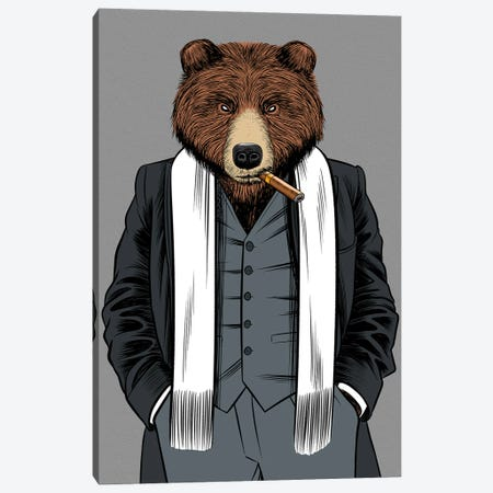 Gangster Grizzly Canvas Print #APZ44} by Alberto Perez Canvas Print
