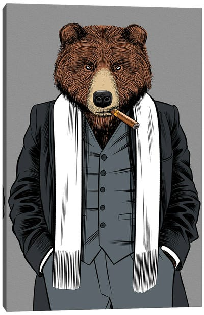 Gangster Grizzly Canvas Art Print