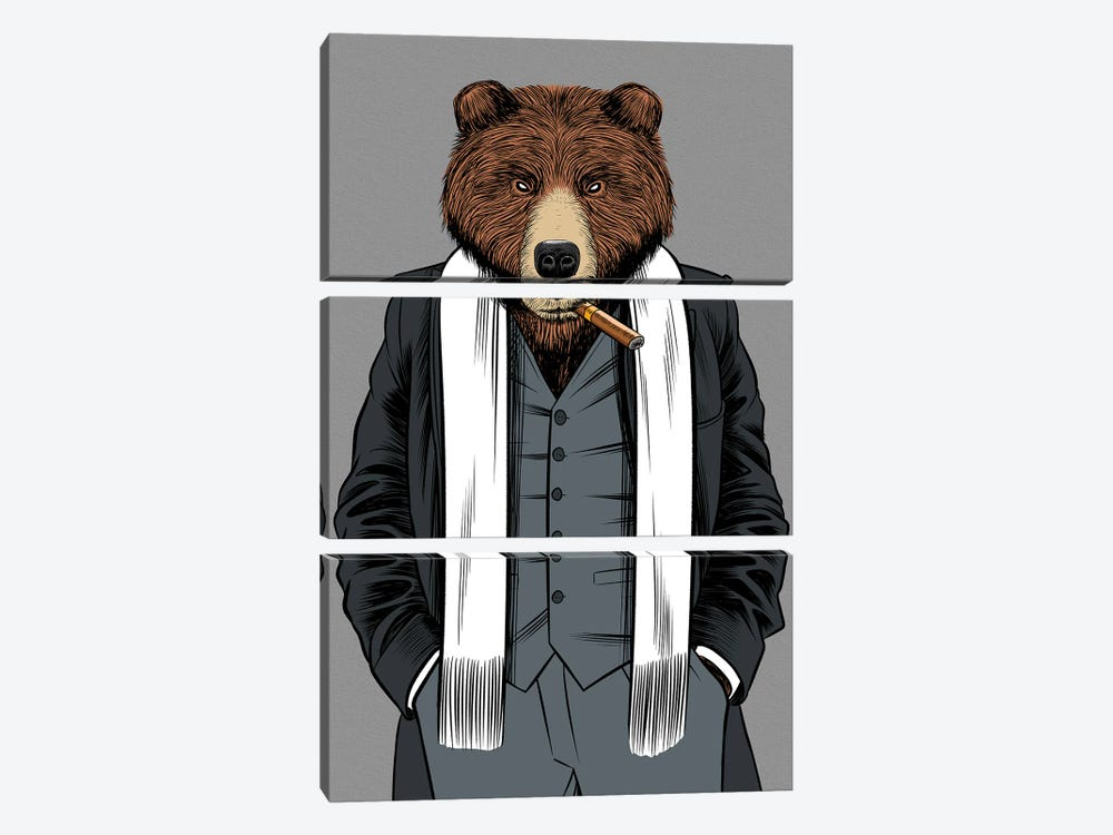 Gangster Grizzly by Alberto Perez 3-piece Art Print