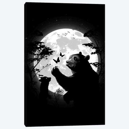 Mother Bear Playing With Butterflies With Her Cub Under The Moon Canvas Print #APZ450} by Alberto Perez Canvas Wall Art