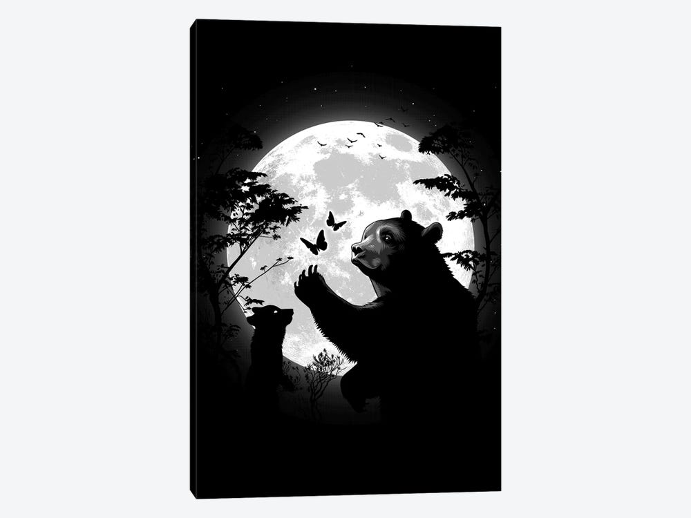 Mother Bear Playing With Butterflies With Her Cub Under The Moon by Alberto Perez 1-piece Canvas Art Print