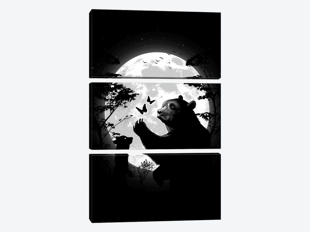 Mother Bear Playing With Butterflies With Her Cub Under The Moon by Alberto Perez 3-piece Canvas Art Print