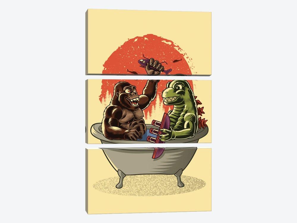 Monster Bath by Alberto Perez 3-piece Canvas Art Print