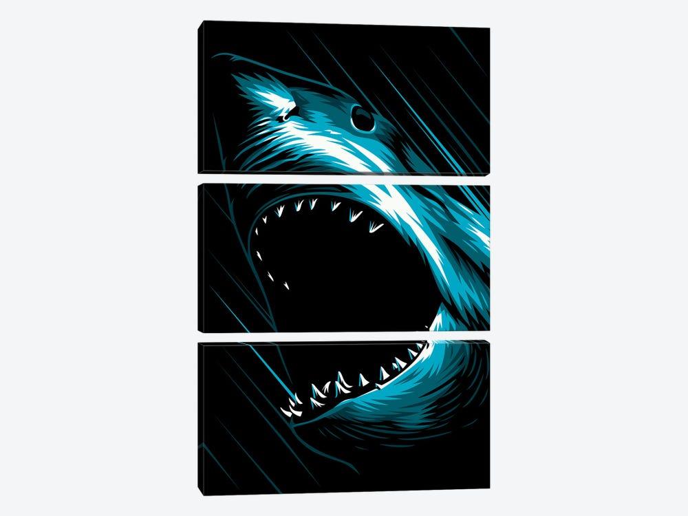Shark Attack by Alberto Perez 3-piece Canvas Print