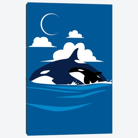 Killer Whale Family Canvas Print #APZ52} by Alberto Perez Canvas Print