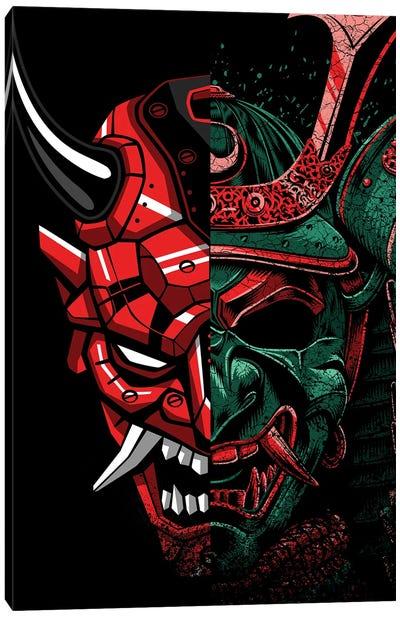 Double Samurai Mask Canvas Art Print