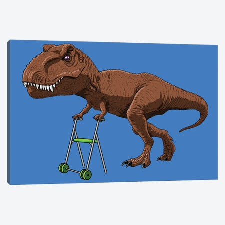 Old T-Rex With Walker Canvas Print #APZ608} by Alberto Perez Canvas Art Print