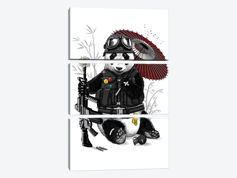 Military Panda by Alberto Perez 3-piece Canvas Art Print