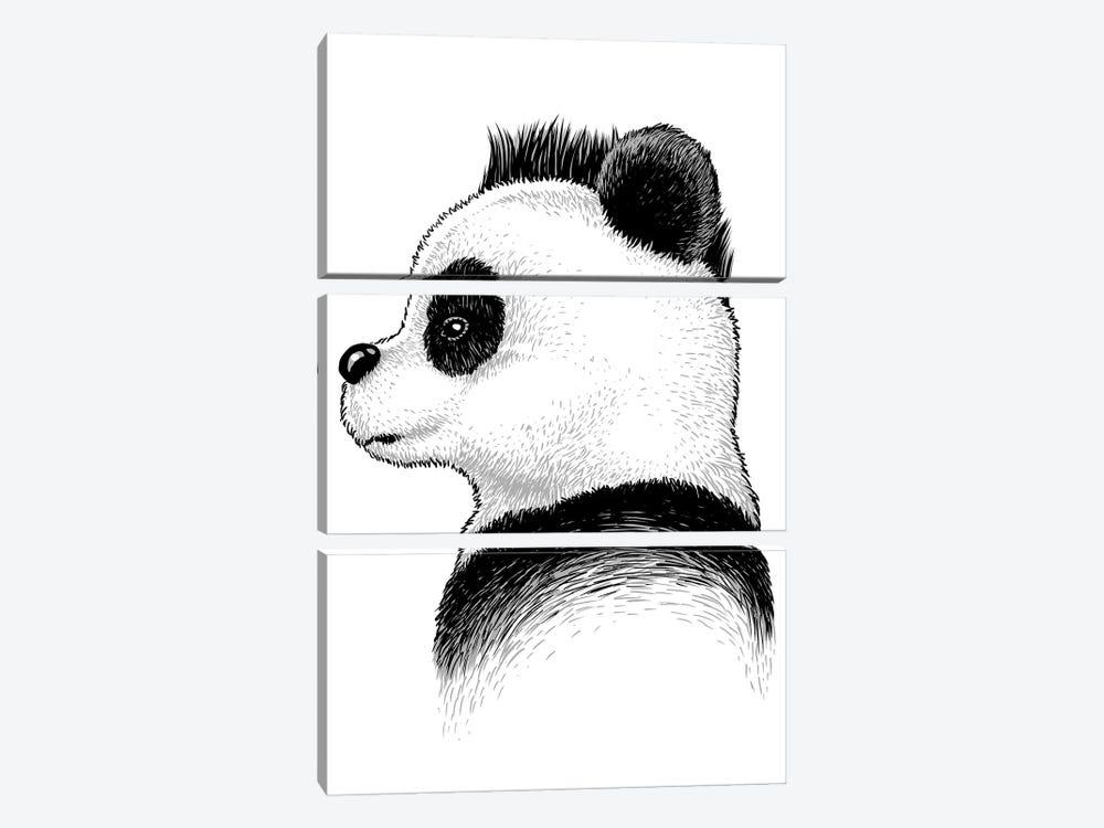Punk Panda by Alberto Perez 3-piece Canvas Art Print