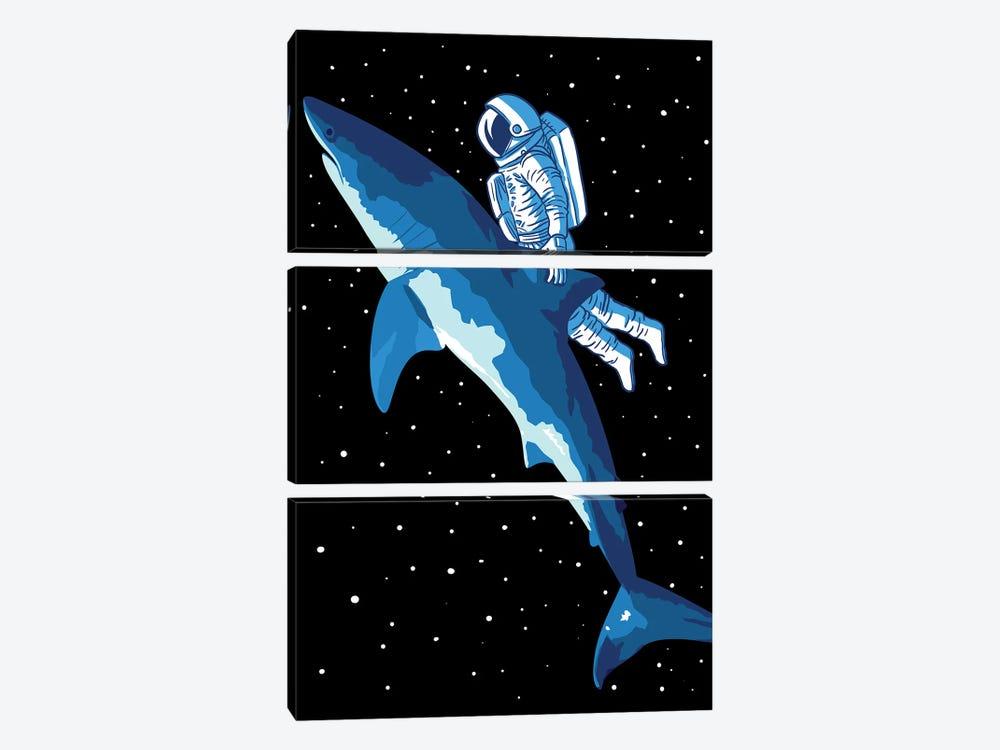 Great Shark Astronaut by Alberto Perez 3-piece Canvas Wall Art
