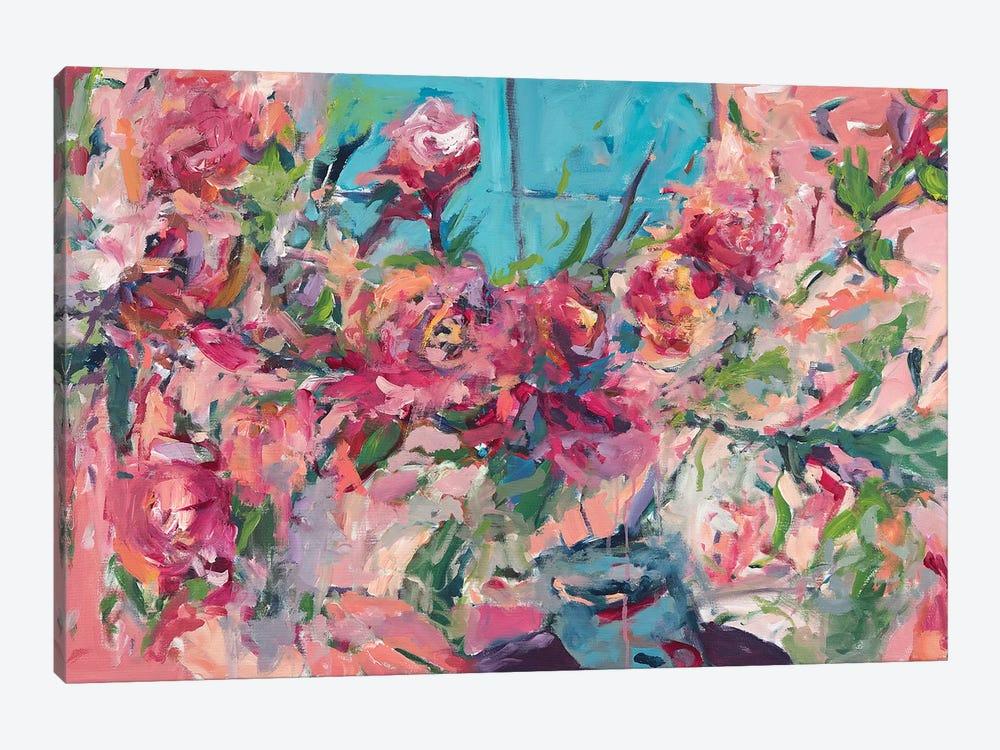 Flowers On The Windowsill by Amira Rahim 1-piece Canvas Wall Art