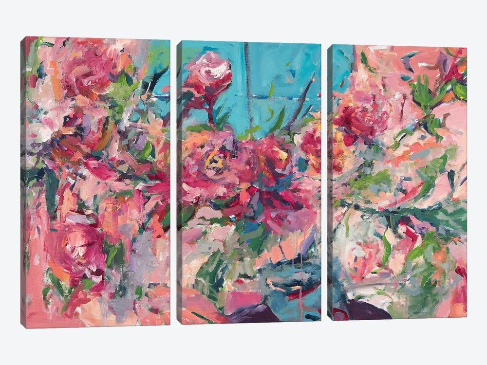 Flowers On The Windowsill by Amira Rahim 3-piece Canvas Wall Art