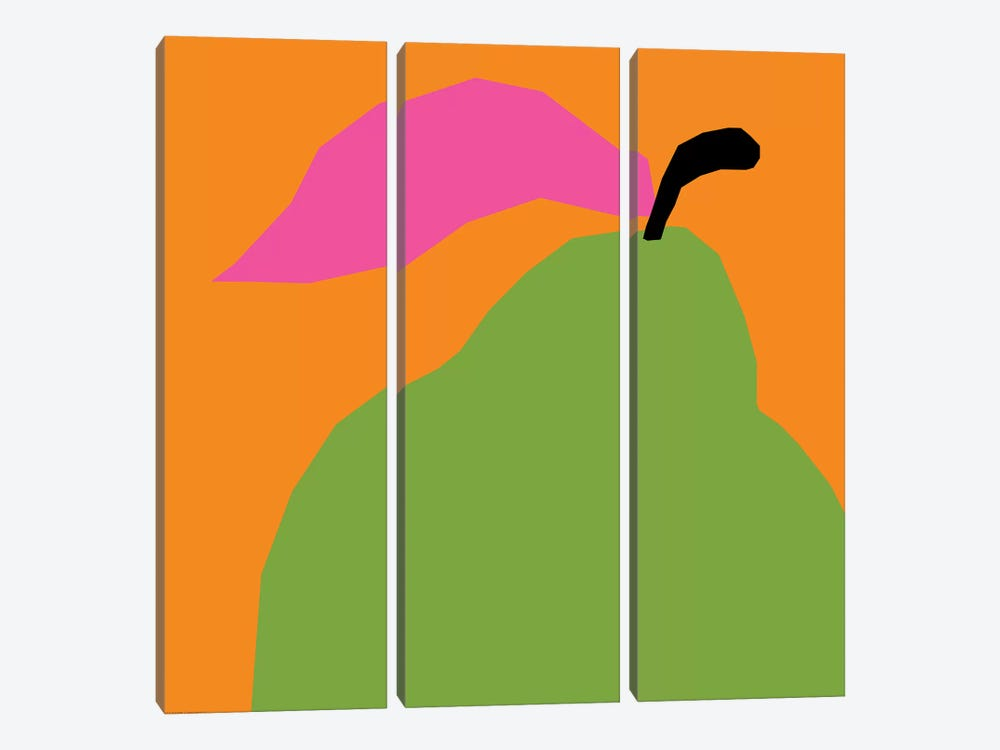 Green Pear 3-piece Canvas Print