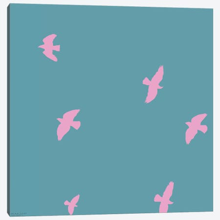 Pink Birds Canvas Print #ARM167} by Art Mirano Canvas Print
