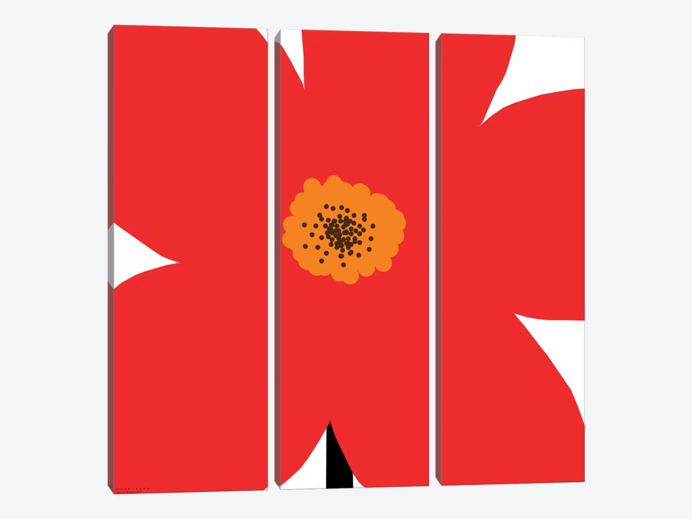 Red Flower by Art Mirano 3-piece Canvas Wall Art