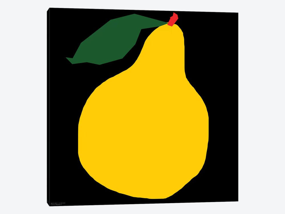 Yellow Pear On Black by Art Mirano 1-piece Canvas Artwork