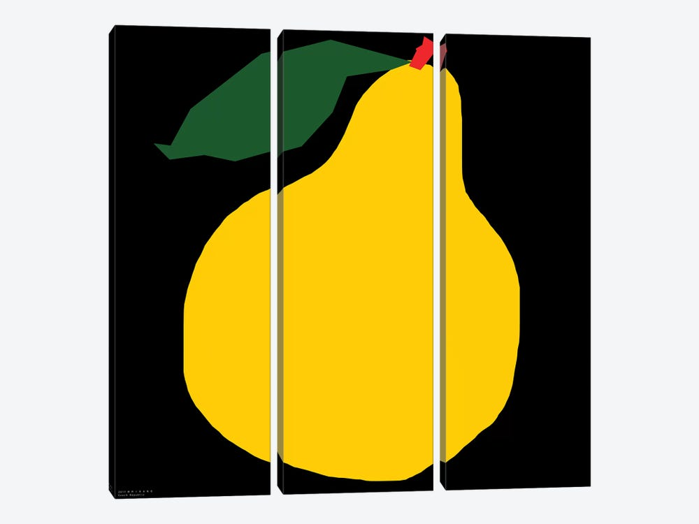 Yellow Pear On Black by Art Mirano 3-piece Canvas Artwork