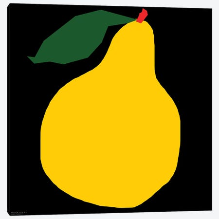 Yellow Pear On Black Canvas Print #ARM283} by Art Mirano Art Print