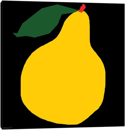 Yellow Pear On Black Canvas Art Print