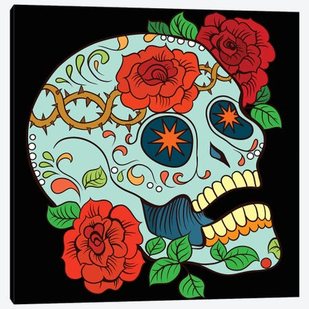 Skull & Roses Canvas Print #ARM342} by Art Mirano Canvas Artwork