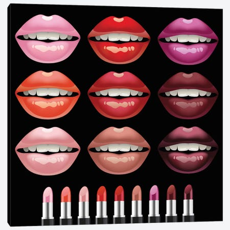Lips 3-Piece Canvas #ARM349} by Art Mirano Canvas Artwork