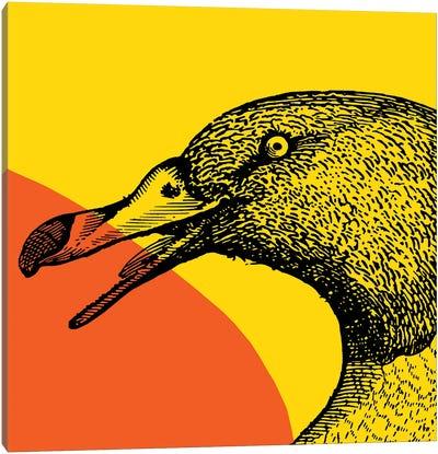 Bird On Yellow Big Canvas Art Print