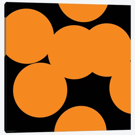 97 Orange Circles On Black Canvas Print #ARM3} by Art Mirano Canvas Art Print