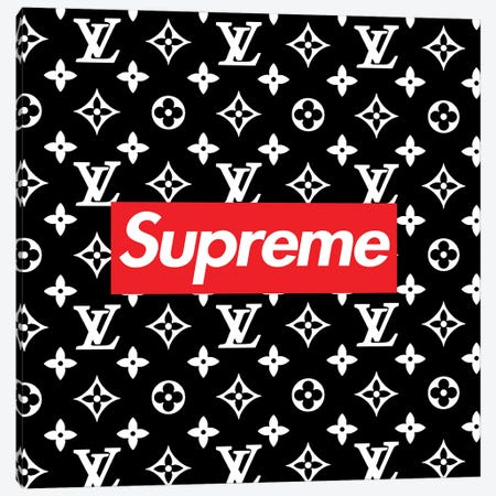 LV black Supreme Canvas Print #ARM404} by Art Mirano Canvas Wall Art