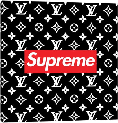LV black Supreme Canvas Art Print
