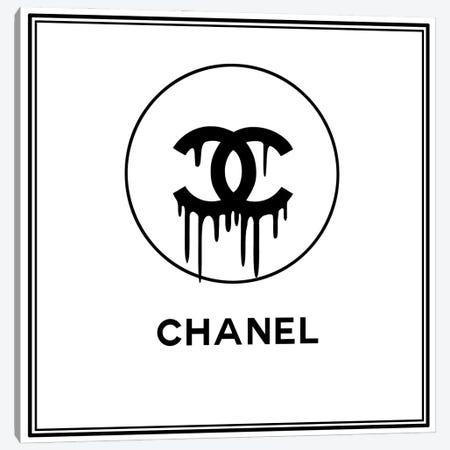 Chanel Drip White Canvas Print #ARM421} by Art Mirano Art Print