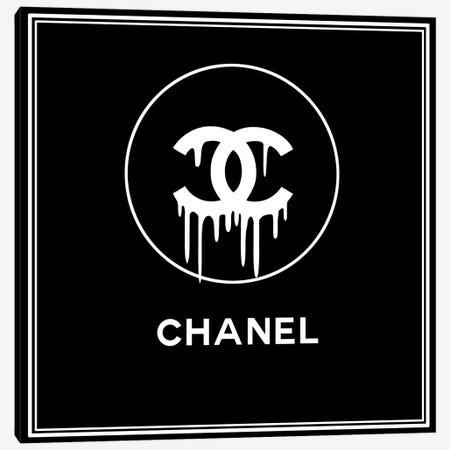 Chanel Drip Black Canvas Print #ARM422} by Art Mirano Canvas Print