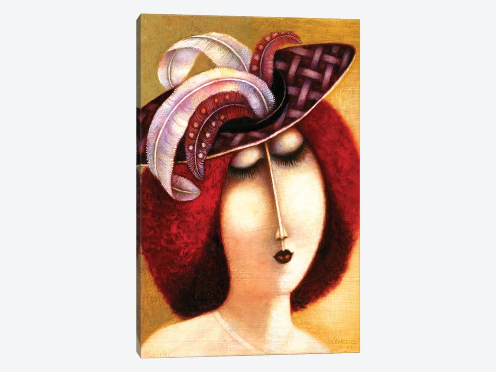 Woman In A Hat With Feathers by Art Mirano 1-piece Canvas Print