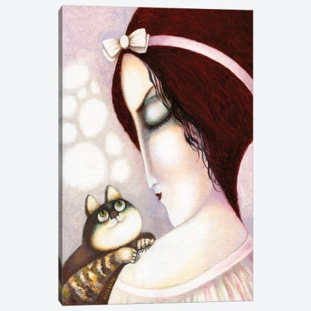 Woman With A Pink Bow On Her Head And A Cat Canvas Print #ARM439} by Art Mirano Canvas Artwork