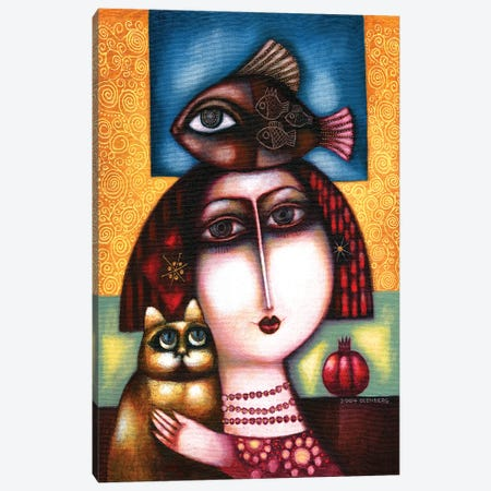 Woman, Cat, Fish And Pomegranate Canvas Print #ARM444} by Art Mirano Canvas Artwork