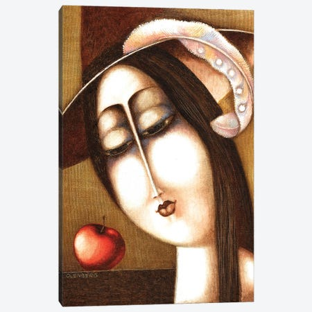 Woman And Apple Canvas Print #ARM446} by Art Mirano Canvas Artwork
