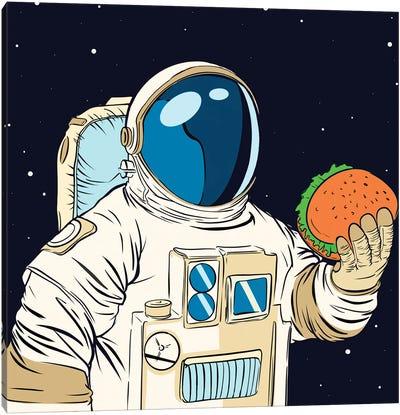 Astronaut and hamburger Canvas Art Print