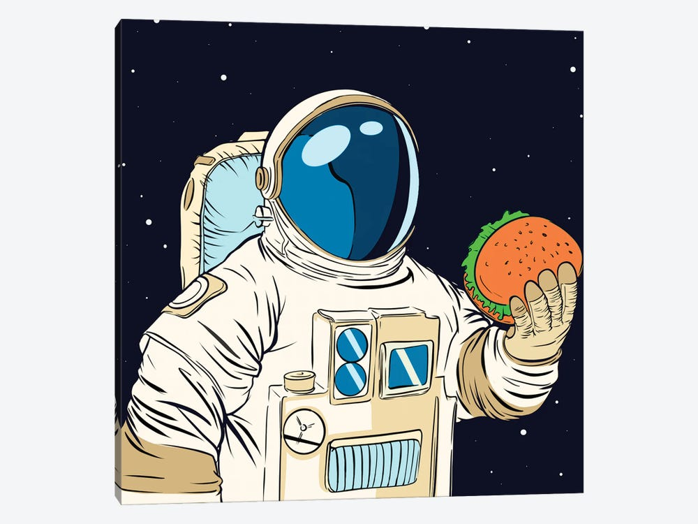 Astronaut and hamburger by Art Mirano 1-piece Canvas Artwork